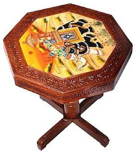 Fashion Bizz Wooden Rajasthani Handicraft Round Shape Coffee Table (Brown)