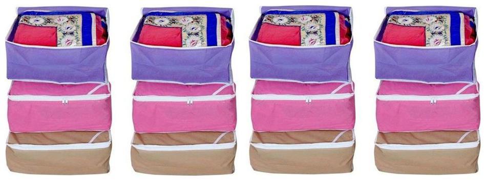 Fashion Bizz Multi Saree Covers Wardrobe Organizer 12 pcs Combo