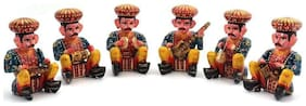Fashion Bizz Ethnic Home Decor Handicrafts Items - Rajasthani 6 Piece Musician Bawla Set In Wood