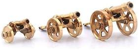 Fashion Bizz Diwali antique Home decor handicraft Pure Brass Handicraft Canon Gift Set (3-pcs;Brown)
