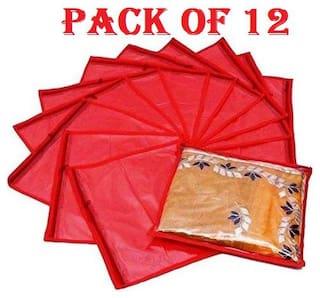 Fashion Bizz Red Non Woven Single Saree Covers Set of 12 pcs Combo