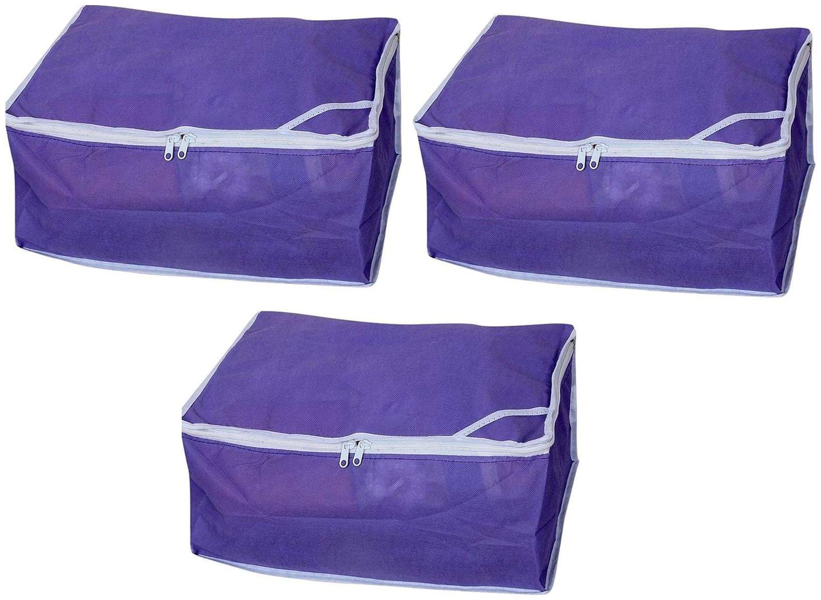 Fashion Bizz Non Woven Purple Saree covers Set of 3 pcs Combo/Wardrobe Organiser/Regular Clothes Bag