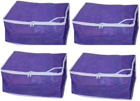 Fashion Bizz Non Woven Purple Saree covers Set of 4 pcs Combo/Wardrobe Organiser/Regular Clothes Bag