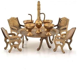 Fashion Bizz Brass Dining Table Chair Maharaja Set