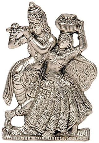 Buy Fashion Bizz Diwali Gift Antique White Metal Lord Radha