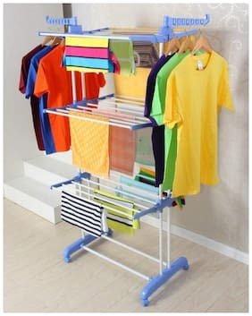 FAVOUR Premium Quality cloth drying rack 3 layer Clothes Rack Hanger Stainless Steel Floor Cloth Dryer Stand  (Blue, Orange)