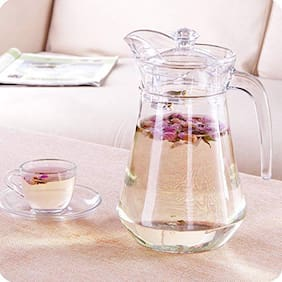 FC Glass Pitcher with Plastic lid,Drinking Beverage Jug,Glass Water jug for Home use