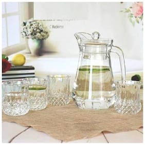 FC Hot Imported Royal Look Crystal Glasses And Pure Jug With Lid Jug Glass Set of 7 1.3 L JUG