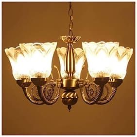 Fancy Designer Glass Abstract White Chandeliers ( 1pc )
