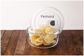 Femora Borosilicate Glass Microwave Safe Round Container with Vacuum Lid - 400 ML