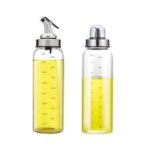Femora Borosilicate Glass Seasoning Metallic Lid Oil Bottle Jar Dispenser - 500ml;1 Year Warranty- Set of 2