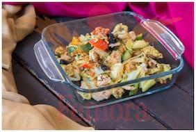 Femora Borosilicate Square Dish Microwave Safe;Oven Safe- 900 ml;1 Year Warranty