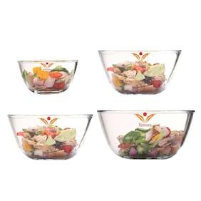 Femora Glass Transparent Mixing bowl ( Set Of 4 )