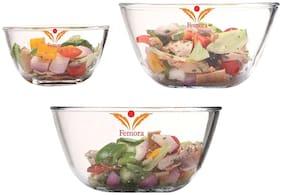 Femora Glass Transparent Mixing bowl ( Set of 3 )