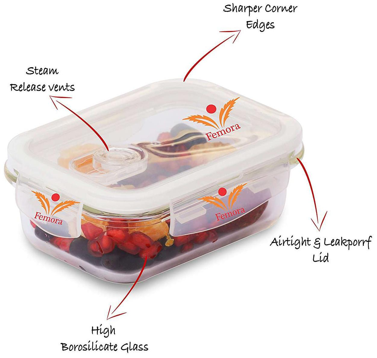 Buy Femora Borosilicate Rectangular Glass Food Storage Container