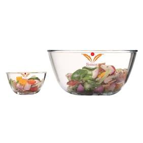Femora Borosilicate Glass Microwave Safe 400 ML;2100 ML;Mixing Bowl Set