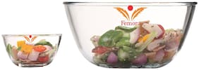 Femora Borosilicate Glass Microwave Safe 1050 ml;1650 ml;Mixing Bowl Set