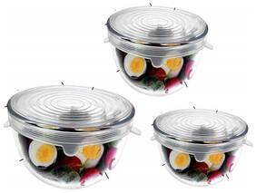 Femora Borosilicate Glass Mixing Bowl with Microwave Safe Lid - 1050ML_1650ML_2100ML- Set of 3