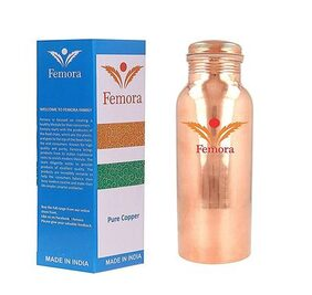Femora Plain Handmade Lacqour Coated Anti Tarnished Joint Free Thermos Leak Proof Pure Copper Water Bottle, 950Ml- For Ayurvedic Health Benefits