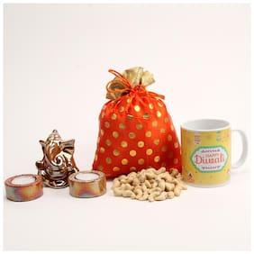 Ferns N Petals Gift Hamper Set Of Cashew In Potli With Ganesha Idol & Two Diya And Happy Diwali Mug For Diwali | Diwali Gift | Deepawali Gift | Home Decor For Diwali | DryFruits