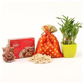 Ferns N Petals Gift Hamper Of Cashew In Potli With Soan Papdi & Ganesha Idol And Two Layer Bamboo Plant In Green Plastic Pot For Diwali | Diwali Gift | Deepawali Gift | Home Decor for Diwali