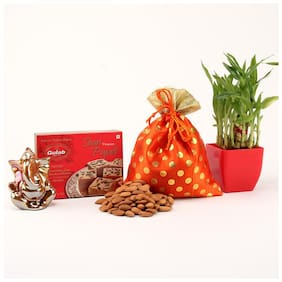 Ferns N Petals Gift Hamper Of Almonds In Potli With Soan Papdi & Ganesha Idol And Two Layer Bamboo Plant In Red Plastic Pot For Diwali | Diwali Gift | Deepawali Gift | Home Decor for Diwali