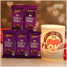 Ferns N Petals Promise Day Hollow Candle & 5 Cadbury Dairy Milk Chocolates | Valentines Gift | Chocolate Gift