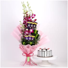 Ferns N Petals Purple-Orchids-Posy-Black-Forest-Cake Valentines Gift
