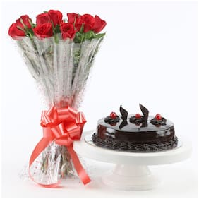Ferns N Petals Red-Roses-With-Truffle-Cake-Standard Valentines Gift