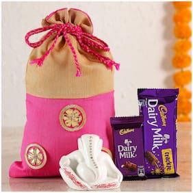 Ferns N Petals White Ganesha Idol Cadbury in Designer Potli | Gift For Diwali | Diwali Idols | Festive Idols