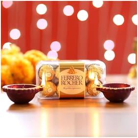 Ferns N Petals Ferrero Rocher & Diyas Solo   Gift For Diwali   Diwali Diya
