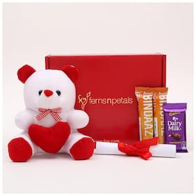 Ferns N Petals Combo Of White Teddy With Love Letter,2 Bindaaz Chocolates & 1 Dairy Milk Chocolate,| Valentine Gift| Chocolate Gift
