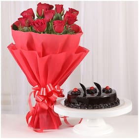 Ferns N Petals Red-Roses-With-Cake-Standard|Valentines Gift
