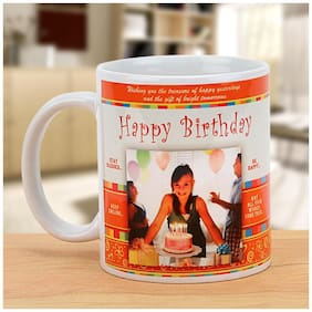 Ferns N Petals Cheers On the Birthday-Personalized Mug;White And Orange Color