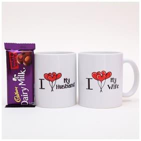 Ferns N Petals Combo Of I Love My Husband & Wife Printed Mug,Cadbury Dairy Milk Chocolate,  Valentine Gift   Chocolate Gifts