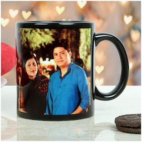 Ferns N Petals Personalized Couple Mug-printed on black ceramic coffee mug