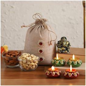 Ferns N Petals Antique Ganesha Idol With Dried Nuts Potli Diyas For Diwali