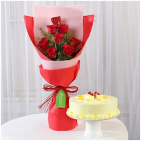 Ferns N Petals 8-Red-Roses-With-Butterscotch-Cake-Combo|Valentines Gift