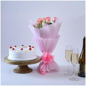 Ferns N Petals Elegant-Wishes-6-Pink-Roses-With-Cake Valentines Gift