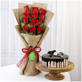 Ferns N Petals 12-Layered-Red-Roses-Bouquet-Choco-Cream-Cake Valentines Gift