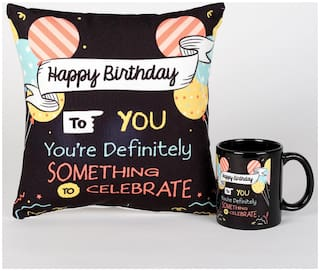 Ferns N Petals Happy Birthday Special Cushion & Mug Printed Combo (Size 10x11 inch) for Special Gifting