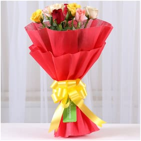 Ferns N Petals Special 8 Mixed Roses Bouquet|Valentines Gift