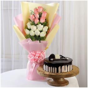 Ferns N Petals Pink-White-Roses-Choco-Cream-Cake Valentines Gift