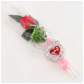 Ferns N Petals Artificial Single Red Rose Bouquet   Valentine Gifts Artificial Flower
