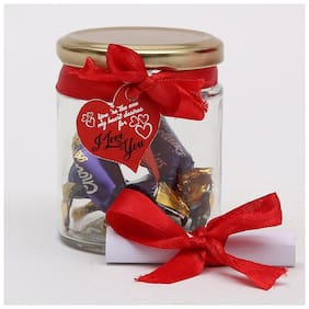 Ferns N Petals Glass Jar With Cadbury Chocolates Candies I love Gift Knot With Love letter | Valentine Gift | Chocolate Gifts