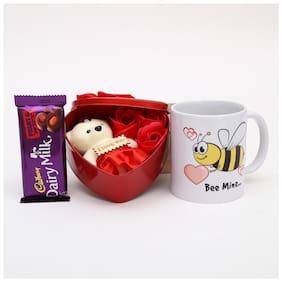 Ferns N Petals Valentine Gift Box With Small Teddy and Roses,Bee Mine Printed Mug Cadbury Dairy Milk Chocolate,  Valentine Gift   Chocolate Gifts