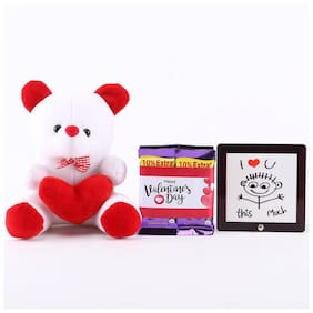Ferns N Petals I Love u Table Top & Teddy Bear With 2 Chocolates | Valentines Gift