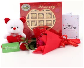 Ferns 'N' Petals Combo Of Single Red Rose Bouquet,Choco Swiss Loverly Red Choco Bites Chocolates,White Teddy Bear,Happy Valentine Day Printed Greeting Card