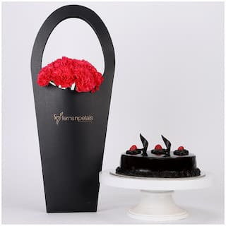 Ferns N Petals 10-Pink-Carnations-Truffle-Cake-Combo|Valentines Gift
