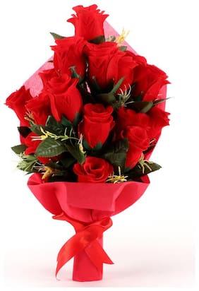 Ferns N Petals Artificial 21 Red Rose Bouquet | Valentine Gifts|Artificial Flower